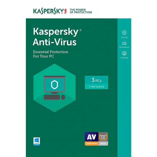 Kaspersky Anti-Virus 2019 - 1-Year / 3-PC - INT