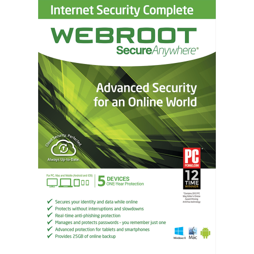 Webroot SecureAnywhere Internet Security Complete - 1 Year / 5 Devices
