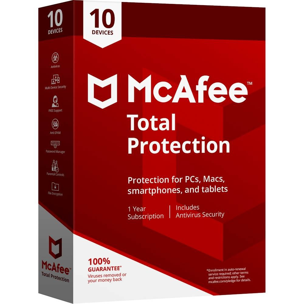 McAfee Total Protection - 1-Year / 10-PC - Global [KEYCODE]